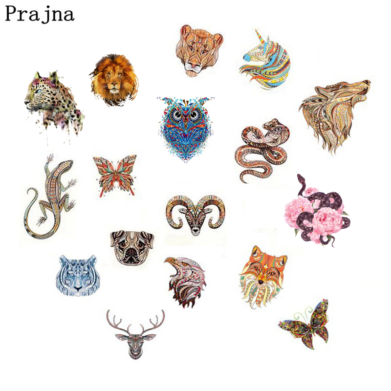 Prajna Snake Dog Dragon Fox Skull Heat Transfer Vinyl Thermal Transfer Stickers T-shirt Applique Patches For Clothing Iron