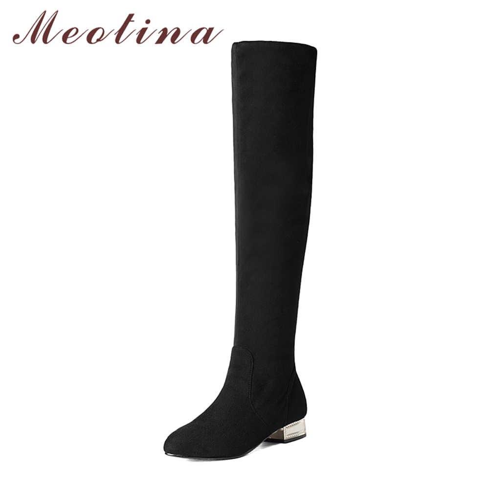 Meotina/женские Сапоги выше колена зимняя обувь на низком каблуке 2018 г. Ботфорты высокие сапоги черного цвета на блочном каблуке Осенняя обувь, размер 33-43, 42