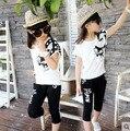 Criança vestuário feminino infantil define verão 2015 menina roupas esportivas caricatura pequena raposa criança verão de manga curta meninas grandes terno