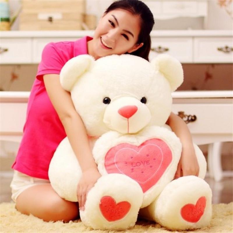 New Year 2017 Lovely Stuffed Toys 60cm Kawaii Teddy Bear Plush Pillow with Heart Soft Plush Toys for Girls Birthday Gift fancytrader biggest in the world pluch bear toys real jumbo 134 340cm huge giant plush stuffed bear 2 sizes ft90451