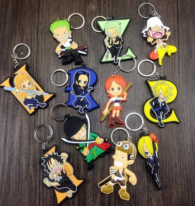 New  50 pcs  Mix Japanese anime  Double Sided PVC Key Chains Bag Pendant Children  For Best Gift Free Shipping  PK-100