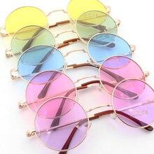 Retro hippie Metal Lennon round sunglasses women Metal frame circle round tinted