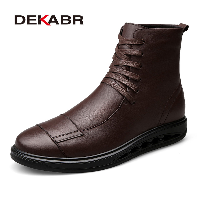 DEKABR Men Fashion Genuine Leather Boots Men Lace Up Brand Ankle Sneakers Autumn High Top Leather Boots Comfortable Men Shoes