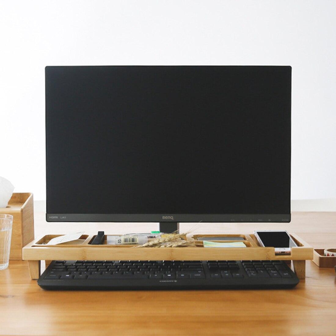 Wooden Computer Monitor Stand Riser Keyboard Stand Organizer Suppoet Desktop Gadget Storage Items Home Storage Organization