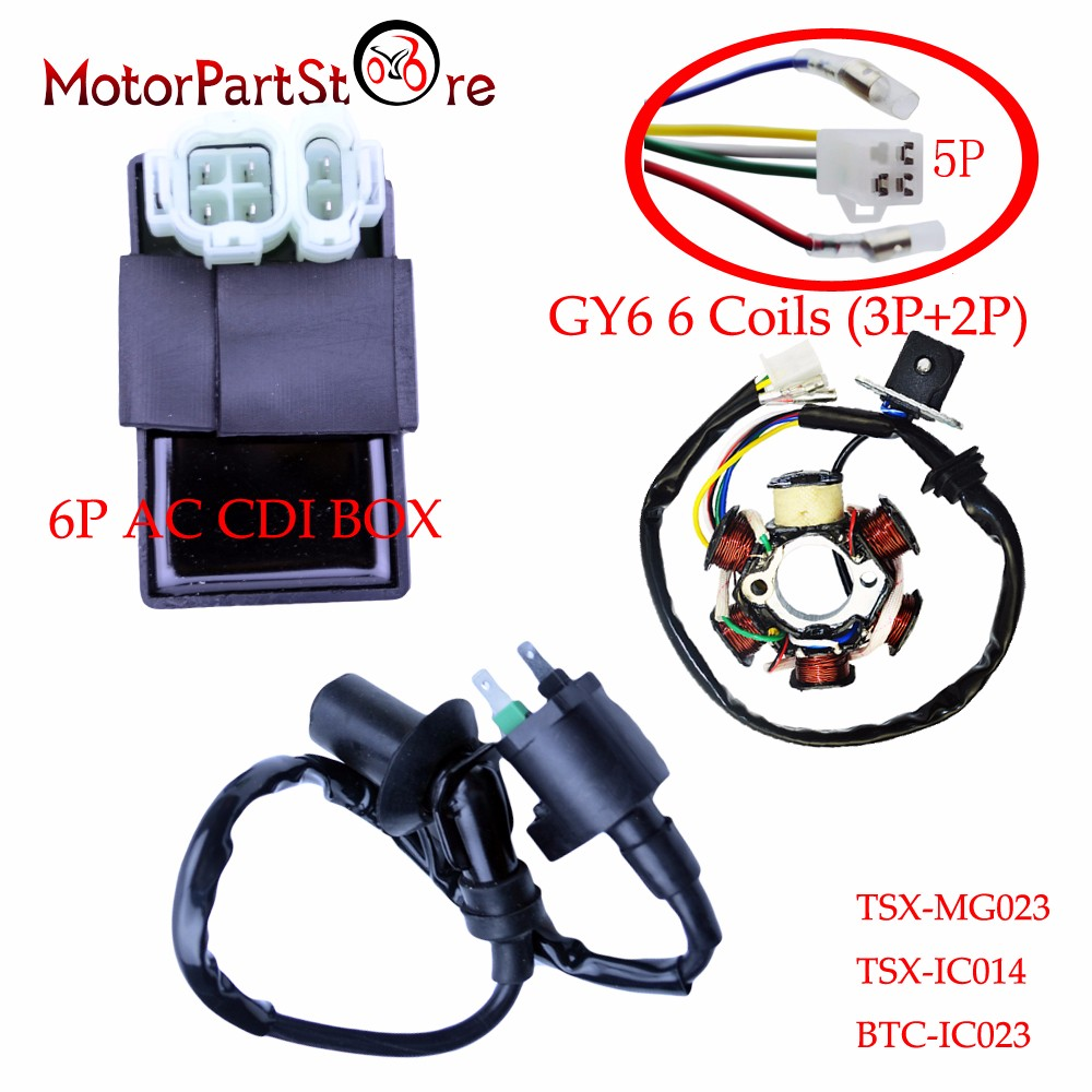 6 pôles bobine stator magnéto 6 Broches AC boîte de cdi Bobine D'allumage Kit pour GY6 150cc Stock Go Kart Moteur ATV Quad scooter