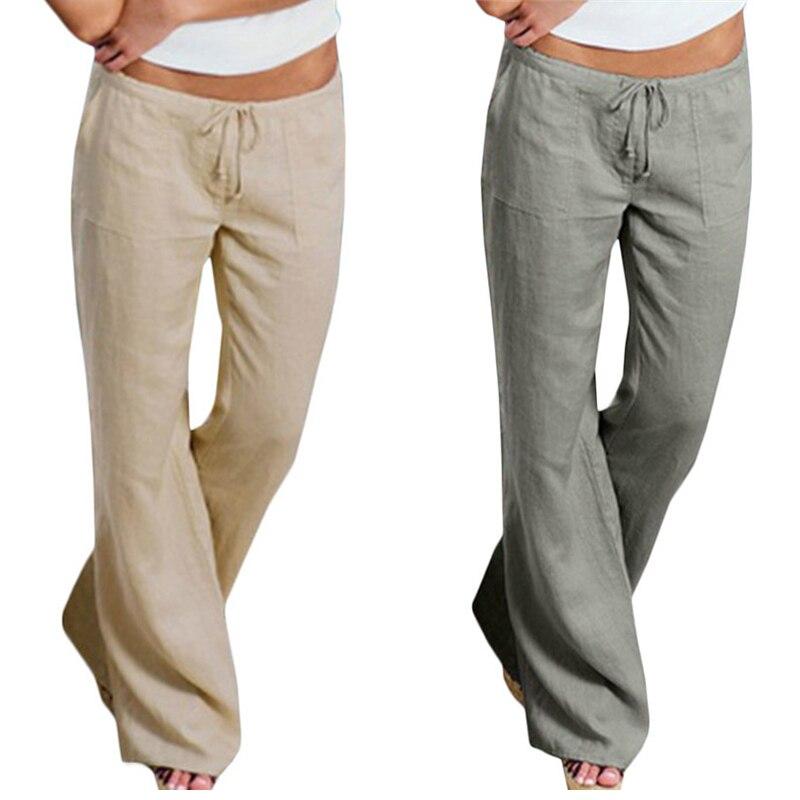 ZEAZEA 2018 New Linen Trousers Women   Wide     Leg     Pants   With Pockets Lady Casual Long   Pants   Loose Solid Harem   Pants   Pantalon S-5XL