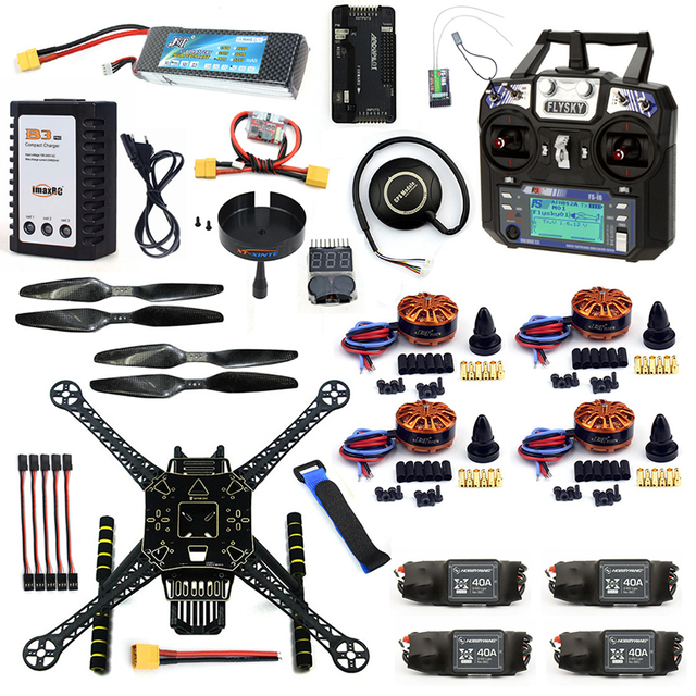 US $240 61 14% OFF|DIY 4 Axle RC FPV Drone S600 Frame Kit APM 2 8 No  Compass Flysky FS i6 TX Battery Charger 700KV Motor 40A ESC XT60  Quadcopter-in RC