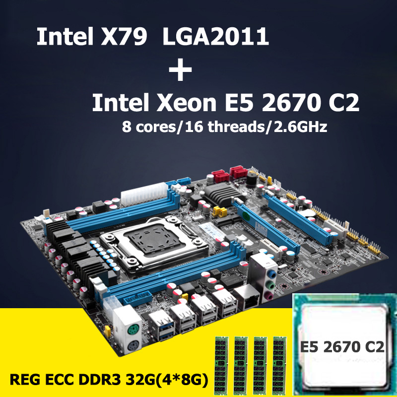 HUANAN motherboard CPU RAM set Intel X79 LGA 2011 motherboard with CPU Xeon E5 2670 C2 revision 2.47 (4*8G)32G DDR3 REG ECC original e5 2670 cpu 20m cache 2 60 ghz 8 00 gt s intelqpi ga 2011 srokx c2 suitable x79 motherboard