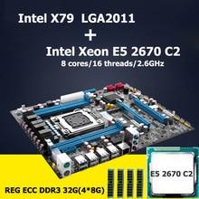 Huanan материнской Процессор Оперативная память комплект Intel X79 LGA 2011 материнская плата с Процессор Xeon E5 2670 C2 Revision 2.47 (4*8 г) 32 г DDR3 ECC Reg