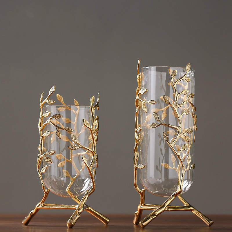 Modern minimalist golden glass vase decoration hotel model room decoration club lobby home decoration ornaments