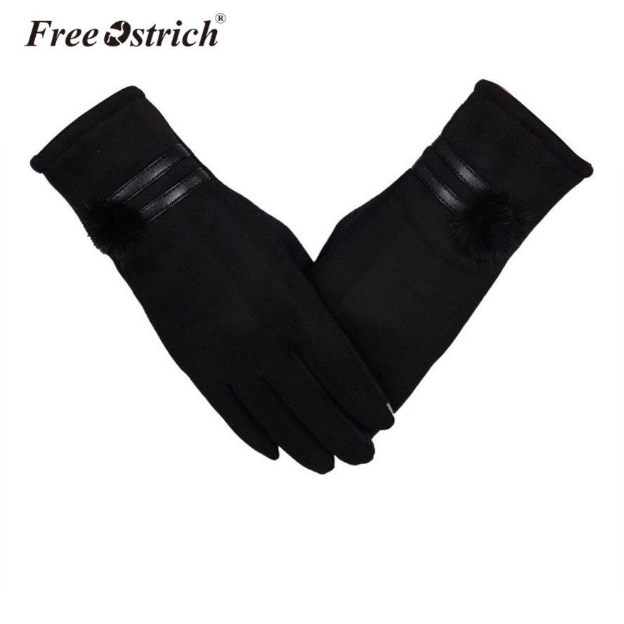 Free Ostrich Female Gloves Touch Screen Autumn Winter Outdoor Warm Inverted Mitten Women Wrist Glove Solid Cotton Gloves MEW