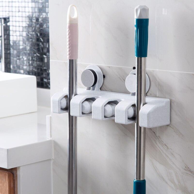 Poinçon libre sucker hanging vadrouille toilettes VADROUILLE crochet rack de stockage de salle de bains porte-balai pont vadrouille pince