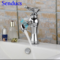Free shipping Single lever bathroom basin faucet with high quality chrome basin sink mixer tap from senducs bathroom mixer tap