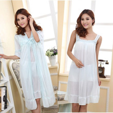 Summer lengthy silk nightgown nightdress girls women lingerie pajama maternity sleepwear being pregnant nightwear robes two-piece