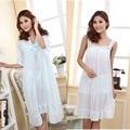 Verano largo camisón de seda camisón de las mujeres más el tamaño de las señoras pijama de lencería embarazada de maternidad ropa de dormir ropa de dormir batas