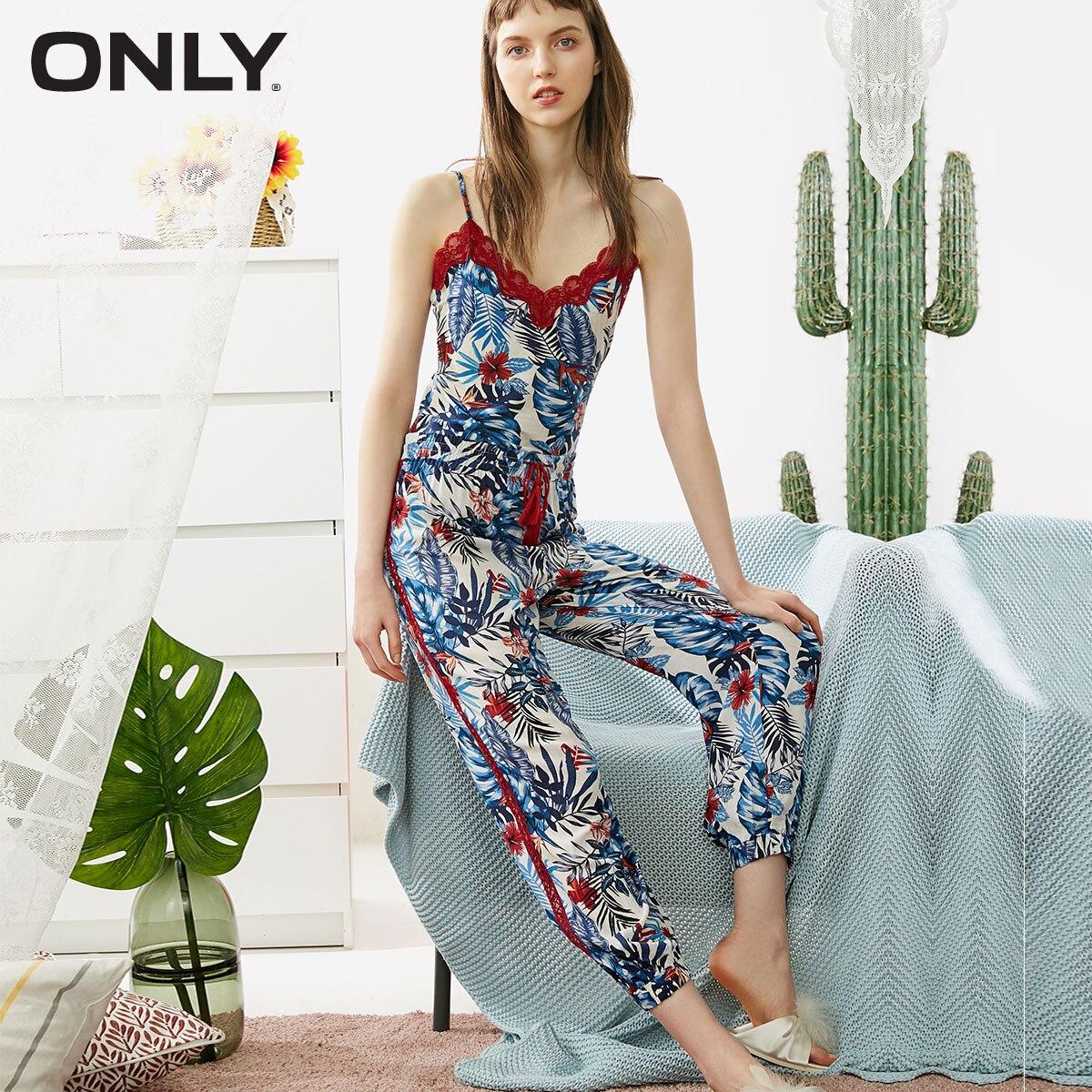 UnabhäNgig Mode Frühling Herbst Floral Print Schlaf Bottoms Weibliche Spitze-up Elastische Taille Lose Lange Hosen Unterwäsche & Schlafanzug