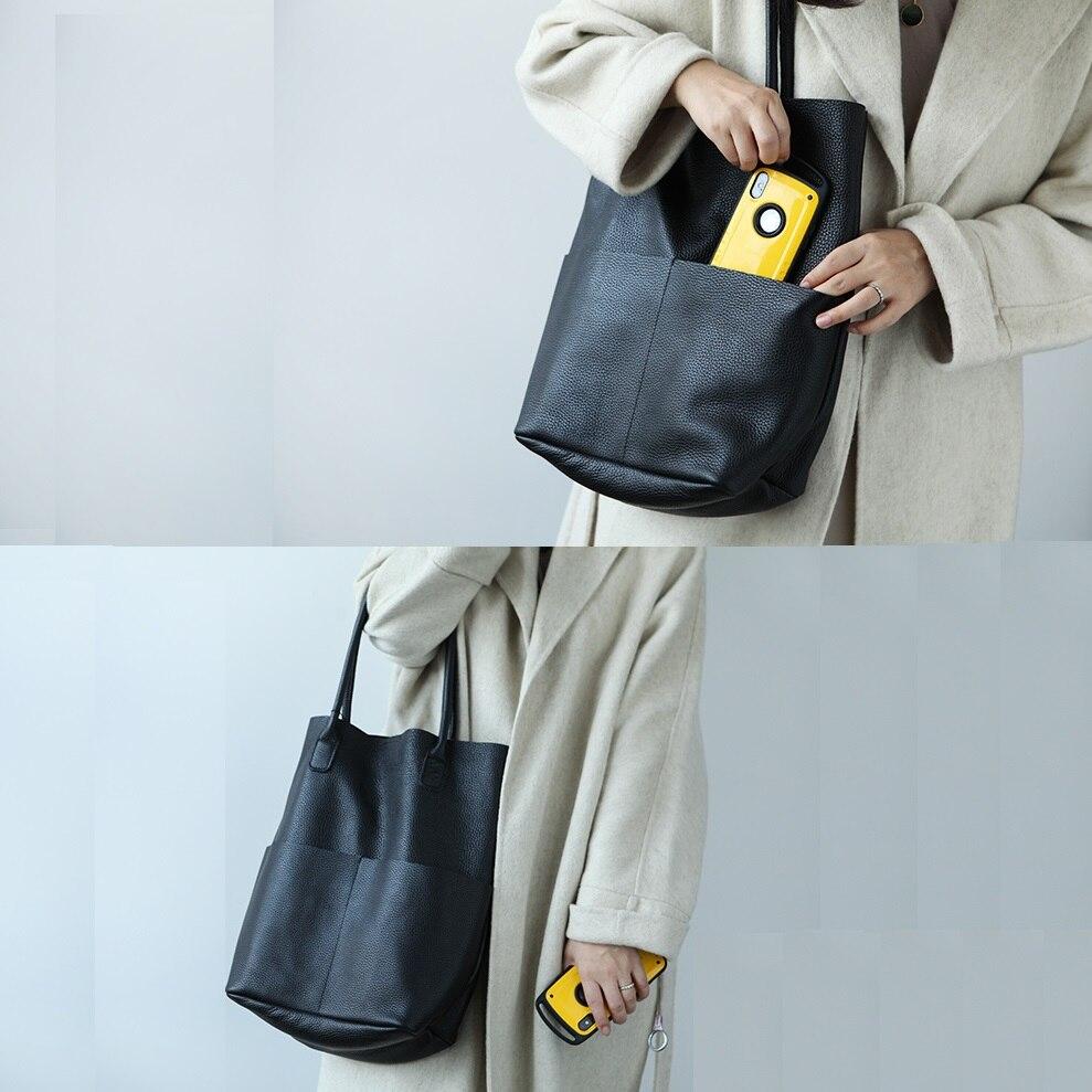 100% doux en cuir véritable femmes sacs à bandoulière mode grande capacité seau sac femme sacs à main de haute qualité dames sac à provisions - 2