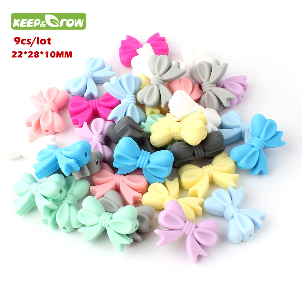 KEEP&GROW 9Pc Mini Silicone Bow Tie Beads Baby Teething Toys BPA Free Silicone Beads DIY Jewelry Making Baby Teether Necklace