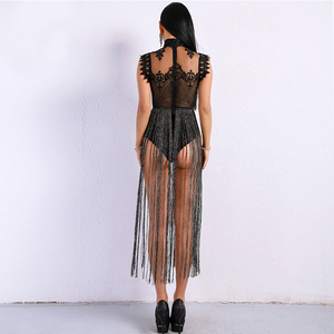 Image 5 - High Neck Sleeveless Lace Tassel Jumpsuit Nightclub Dress Stage Clothes For Singers Celebrity Dresses Birthday Outfits DNV10971