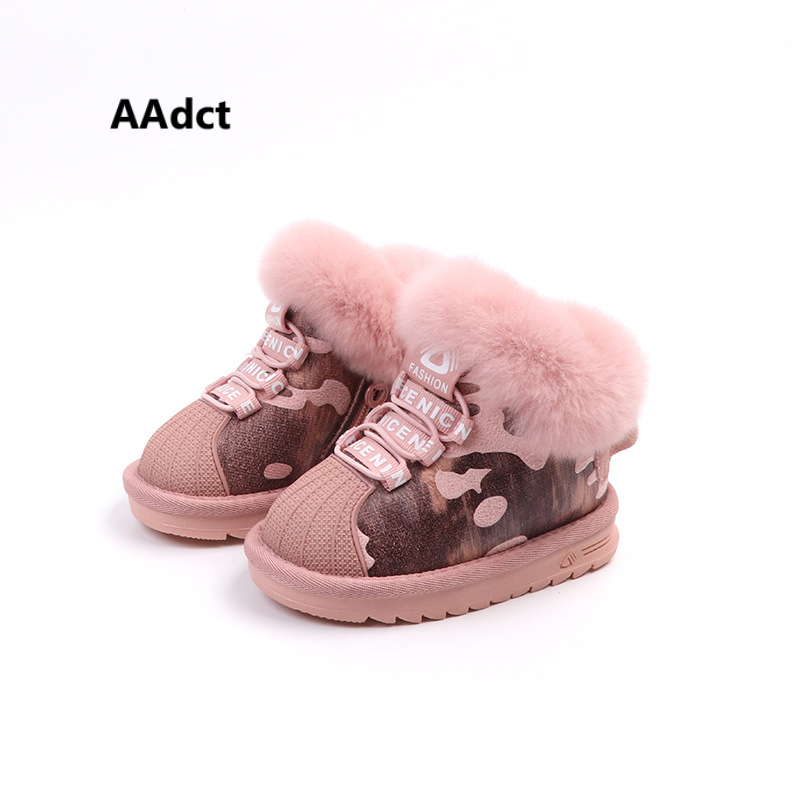 AAdct New cotton fur snow Toddle Baby boots Shell head children boots for little girls 2018 winter warm little kids boots Brand