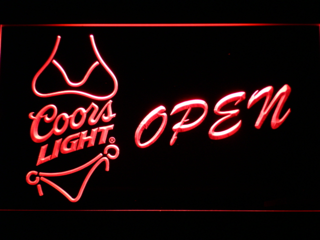050 Coors Light Bikini Beer Open Bar Led Neon Sign With On