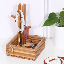 Desktop Storage Jewelry Box Simple Ring Necklace Wooden Jewelry Rack
