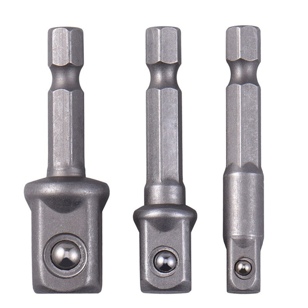 3pcs/set Chrome Vanadium Steel Socket Adapter Hex Shank To Square Extension Drill Bits Bar Hex Bit Set Tools  Tightly