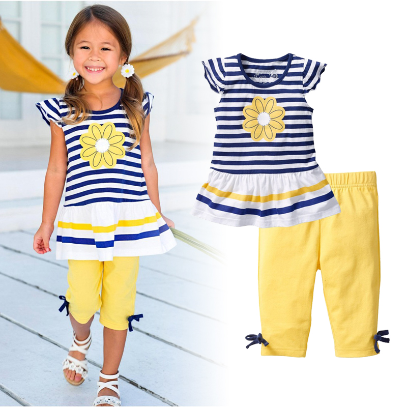 SALE! 2018 Summer  New Girls Clothing Sets Baby Girl Suit Kids Children Clothes Short Sleeve Print  flower Striped  2pcs suit
