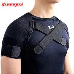 Kuangmi 7K-foam Dupla Ombro Esportes Cinto de Suporte de Ombro Para Trás Alívio Da Dor Brace Ajustável Dupla Cruz Bandagem de Compressão