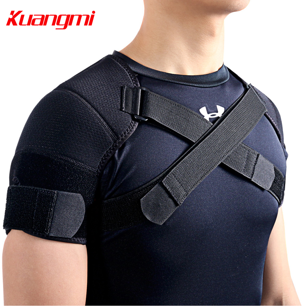 Kuangmi 7K-foam Double Shoulder Brace Verstelbare Sport Schouder Ondersteuning Belt Rugpijn Relief Double Bandage Cross Compression