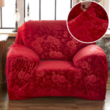 WLIARLEO Polyester Emboss Sofa Cover Thicker Sofa Slipcovers Red Sofa Cover  Elastic Couch Covers For Double