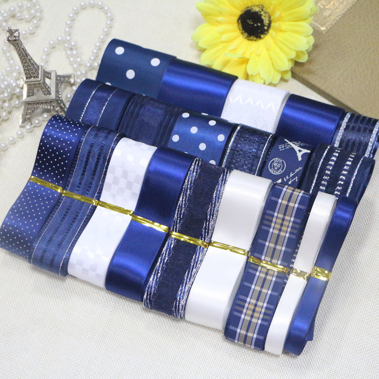 DIY ribbon set-- Dark Blue color ribbon set(total 22 yards)
