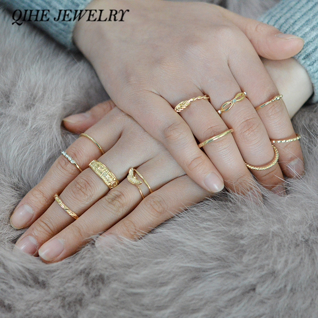 Gold Wire Wrapped Rings | Qihe Jewelry 12pcs Set Punk Style Eagle Knot Wave Wire Wrapped Ring
