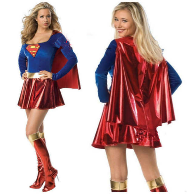 women superwoman cosplay supergirl costume for halloween costume,carnival festival superhero women cosplay costume free shipping