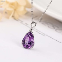 gemstone jewelry wholesale classic 925 sterling silver natural purple crystal amethyst charm necklace pendant