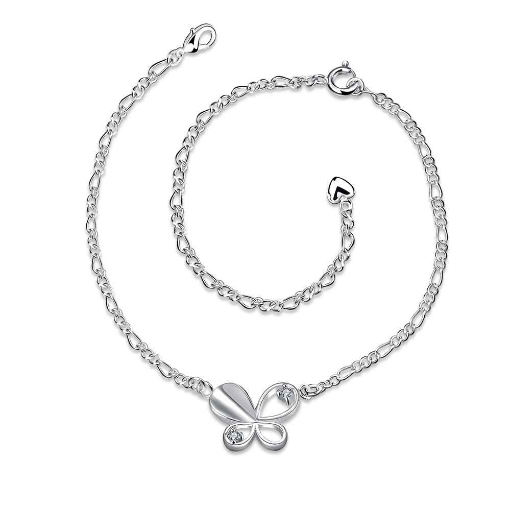 Girls Silver plated jewelry Solid Butterfly anklet bracelets bangles leg for women TOP QualitySMTA021