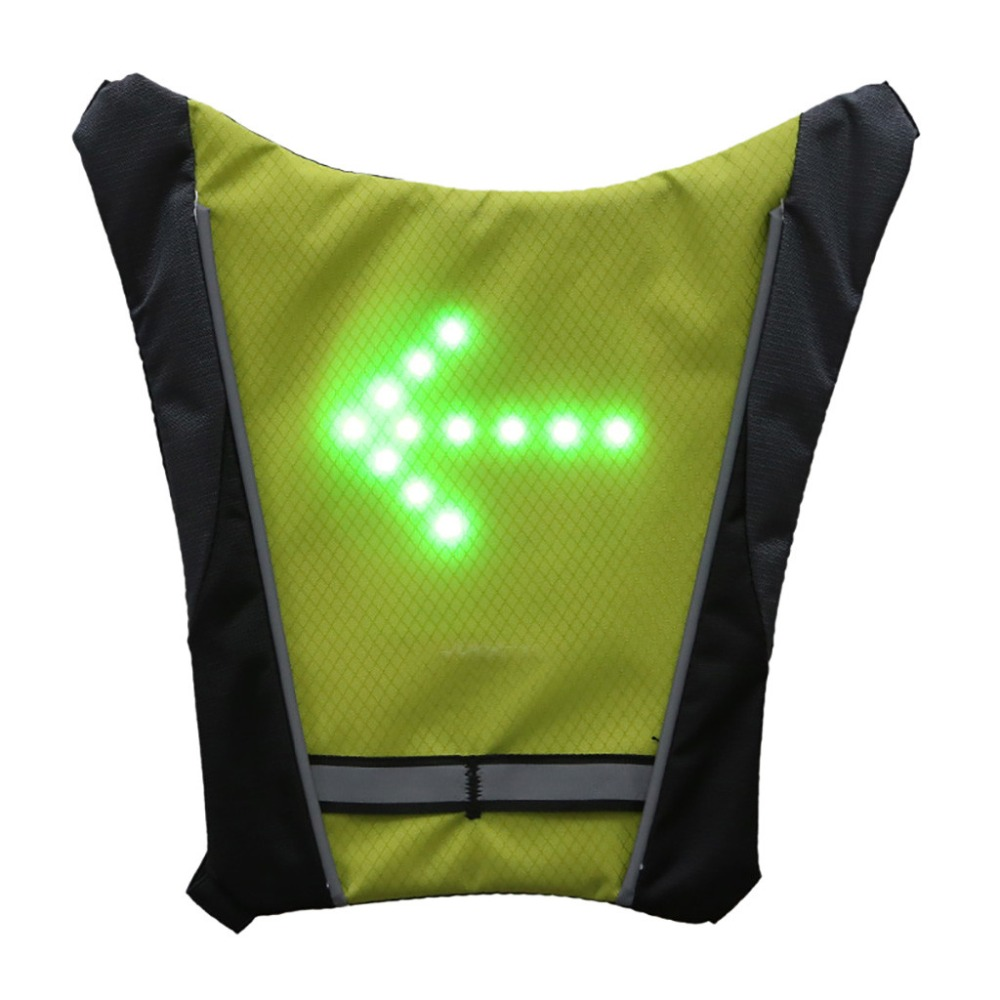 Cycling Usb Rechargeable Bike Riding Warning Light Lamp Reflective Safety Vest With Led Signals Remote Controller For Night Guiding Pj4