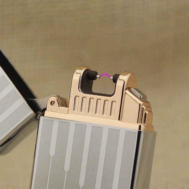 6 Стиль Творческий Безопасной Электронной Сигареты Запальные средства для мангала металла Пульс один Arc зарядка через USB ветрозащитный Перезаряжаемые прикуривателя