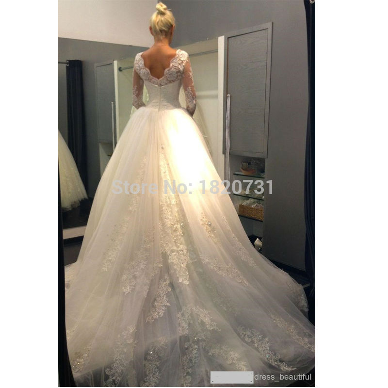 Vestidos De Novia 2019 Long Sleeve Lace Wedding Dress Ball Gown Wedding Dresses 2019 Robe De Mariage Mariee Wedding Gowns