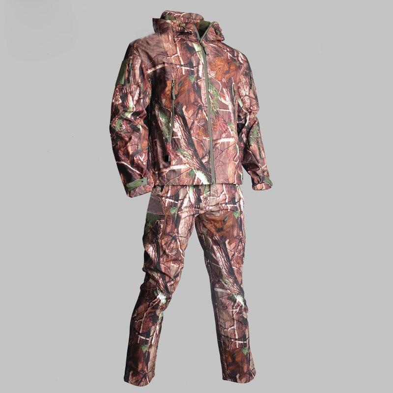Camouflage tactique peau de requin hommes costumes armée chasse randonnée pêche vêtements militaire imperméable à capuche veste + pantalon