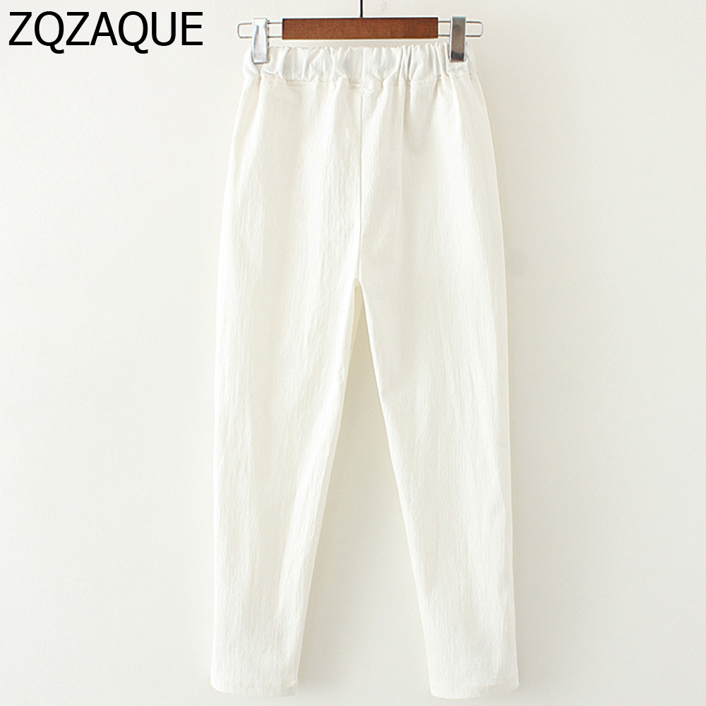 2019 Summer Autumn Girls Casual Elastic Waist Cotton Linen Harem Pants Women's Ankle-Length Pants With Pockets New Fashion Gifts