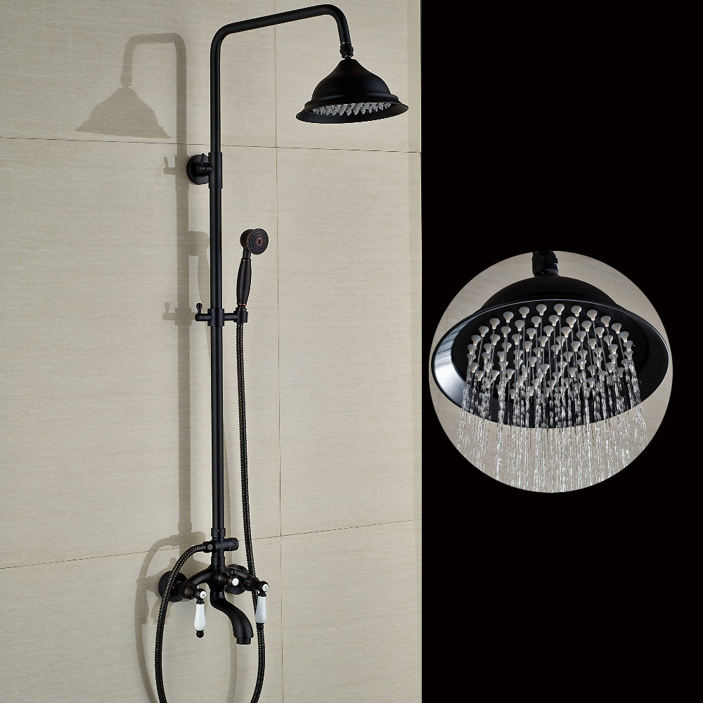 Wall Mounted Oil Rubbed Bronze 8 Round Rain Shower Head Tub Mixer Hand Sprayer