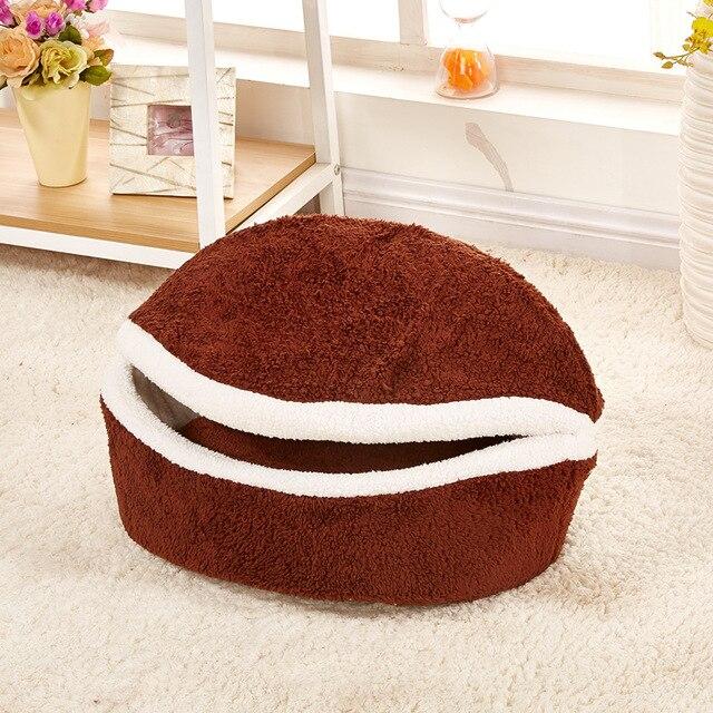 Warm Cat Bed House Hamburger bed Disassem Blability Windproof Pet Mat Puppy Nest Shell Hiding Burger Bun For Winter