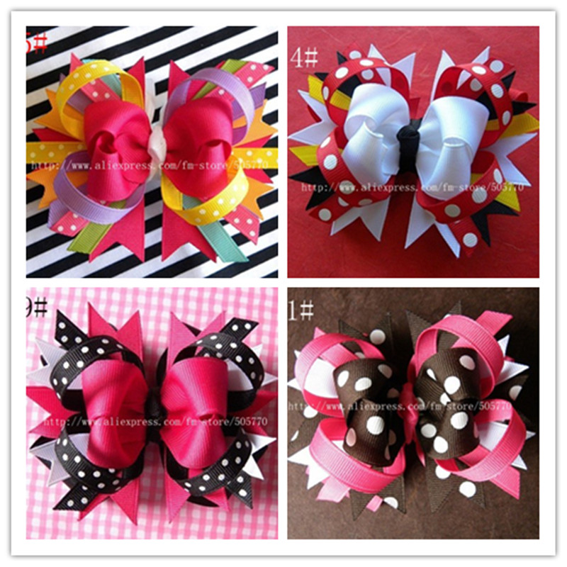 1pc 4.5inch Boutique Large Kids Decorations For Hair Of Grosgrain Ribbon Bows With Clip For Girls Bows Hairpins Accessories