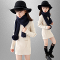 2015 new children's wear girl's sweater kids autumn medium - long full thick sweater baby girl solid long sleeves sweater