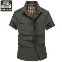 AFS JEEP Shirt Men Casual Shirts 100 Cotton Shirt Camisa Denim Hombre Plus Size 5XL Men