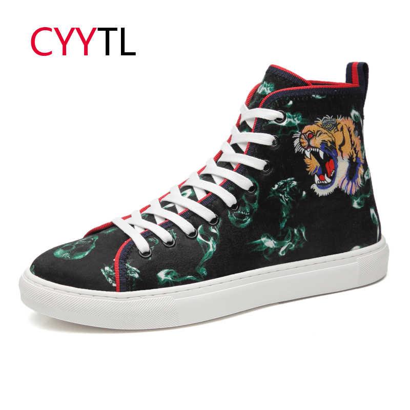 CYYTL الرجال أحذية رياضية عالية أعلى 2019 في الهواء الطلق الأحذية النمر رئيس الحصان الشعر 5D الطباعة المشي تنيس Masculino Zapatillas hombre