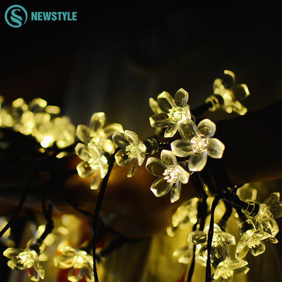 7M 50 LEDs Peach Sakura Flower Solar Lamps Power LED String Outdoor Fairy Solar Lights Garden Christmas Party Holiday Decoration solar fairy string lamps christmas decorative 7m 50leds flower blossom lights waterproof garden christmas outdoor led light