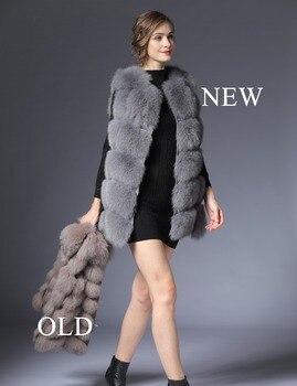 Real Fur Vest Fur Vest Women Winter black Fox Vest Waistcoat natural 70CM natural Real Fur Vest for Female Short Waistcoat DHL