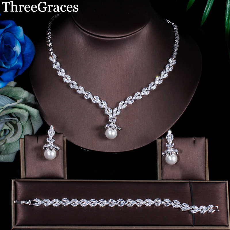 ThreeGraces Classic Marquise Shape Cubic Zircon Crystal Drop Pearl Bracelet Earrings Necklace Bridal Jewelry Sets Wedding JS240